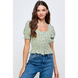 Green Flower Top