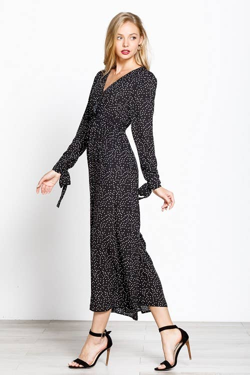Mittoshop - C30146A SCATTERED POLKA DOT TIE DETAIL SLEEVE JUMPSUIT