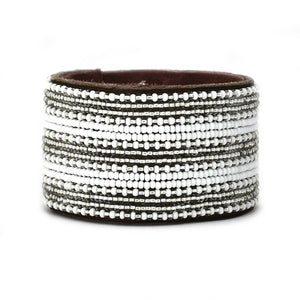 Swahili Coast - Large Silver and White Stripe Leather Cuff