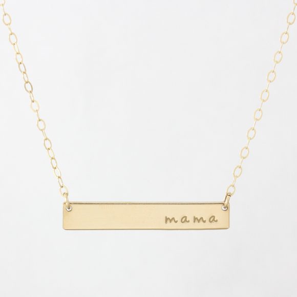 14kt gold filled Mama Classic Bar Necklace