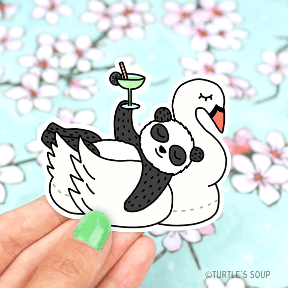 Pool Float Swan & Panda Vinyl Sticker