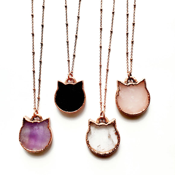 Crystal and Copper Cat Necklace