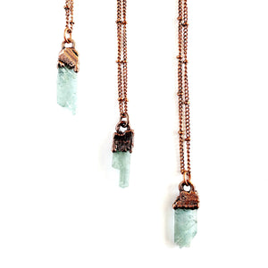 Raw Aquamarine & Antique Copper Birthstone Necklace