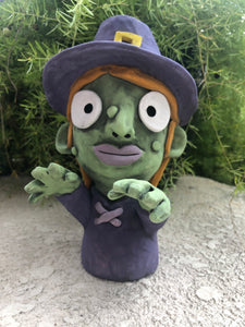 Witch Ceramic Succulent Planter // Adorable Witch Broom Hilda Pothead
