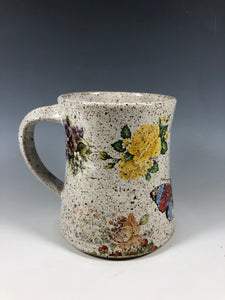 Yellow Rose and Little Birds Design Speckled White Ceramic Mug