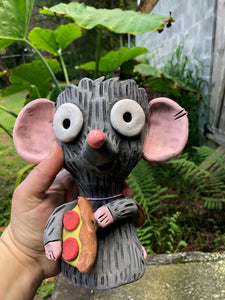 Pizza Rat Succulent Planter// Ceramic Rat with Pizza Pot