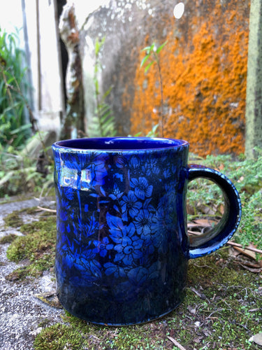 Flower Print Mug in Cobalt