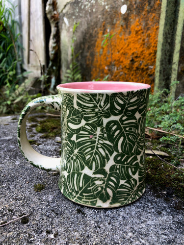 Monstera Leaf Pattern Mug with Pink Interior
