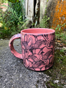 Flamingo Print Mug in Pink