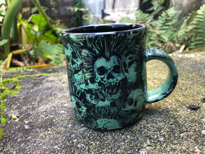 Punk Rock Skull Mug in Dark Green