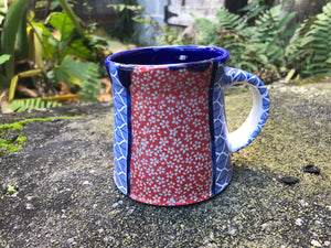 Red and Blue Quilt Mug
