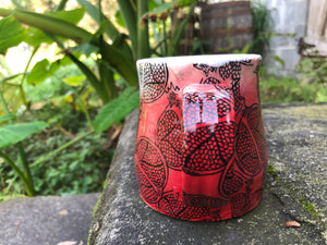 Pomegranate in Red Ombre Ceramic Mug