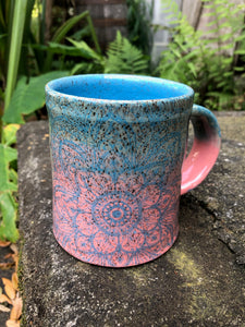 Mandala Mug in Turquoise and Pink