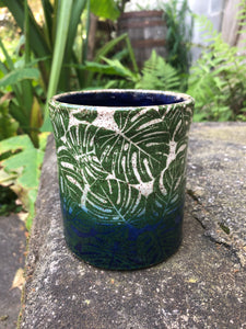 Monstera Leaf Ceramic Mug in Blue and White