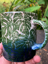 Load image into Gallery viewer, Monstera Leaf Ceramic Mug in Blue and White