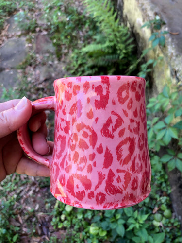 Leopard Print Mug in Pink and Red