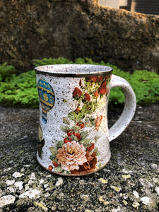 Strawberry and Rose Ceramic Mug with White Gold Rim