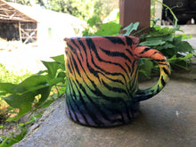 Load image into Gallery viewer, Tiger Stripe Design with Pastel Rainbow Ombre Ceramic Mug