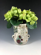 Load image into Gallery viewer, Short Vase // Vintage Inspired Short Vase with Speckled Clay and Vintage Decals