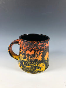 Small Punk Rock Skull Design with Flame Ombre Ceramic Mug with Black Interior