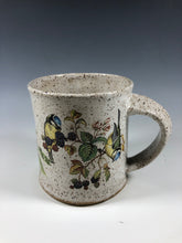 Load image into Gallery viewer, Yellow Breasted Blue Tit Bird Speckled White Ceramic Mug