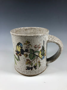 Yellow Breasted Blue Tit Bird Speckled White Ceramic Mug