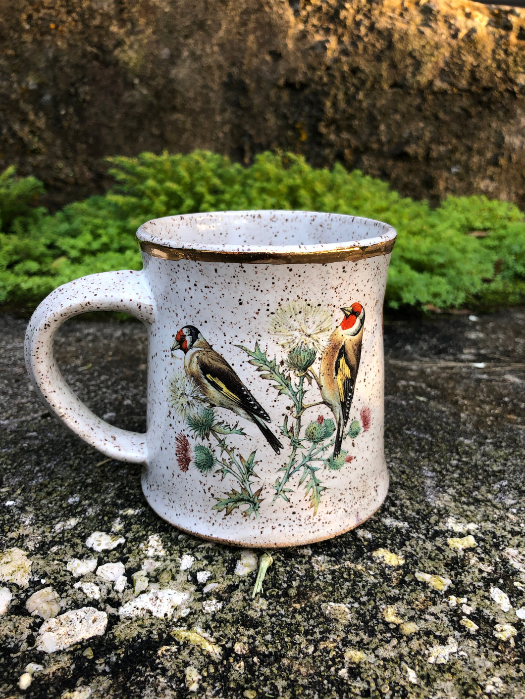 Two Goldfinches Ceramic Mug with Gold Lustre
