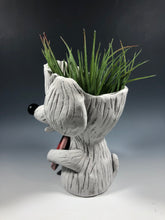 Load image into Gallery viewer, White Fluffy Dog with Heart Succulent Planter // Adorable Dog Ceramic Planter