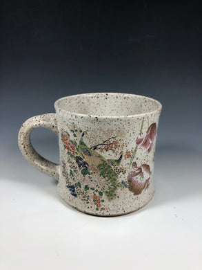 Peacock Gold Lustre White Speckled Mug // Vintage Inspired Ceramic Mug