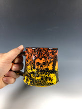 Load image into Gallery viewer, Small Punk Rock Skull Design with Flame Ombre Ceramic Mug with Black Interior