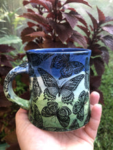 Load image into Gallery viewer, Butterfly Mug in Green and Blue