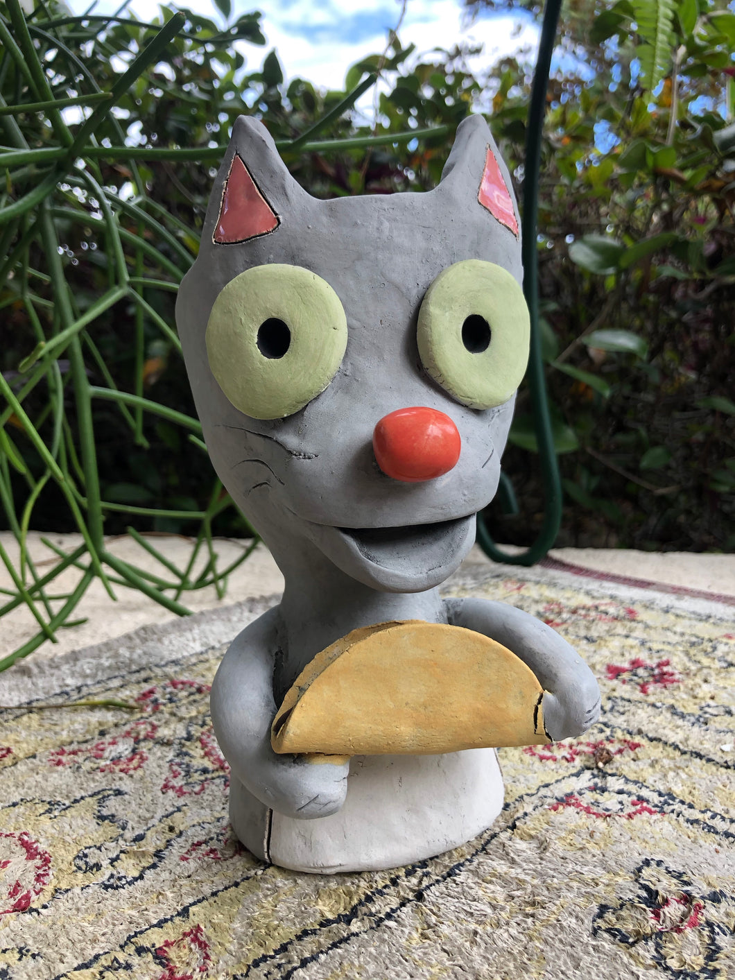 Taco Cat Ceramic Planter // Adorable Cat with Taco Pothead