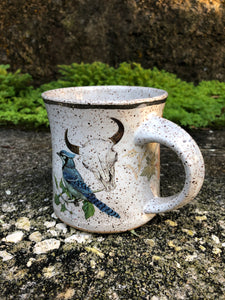 Blue Jay and Skull Ceramic Mug with White Gold Lustre Rim