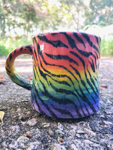 Tiger Stripe Design with Pastel Rainbow Ombre Ceramic Mug