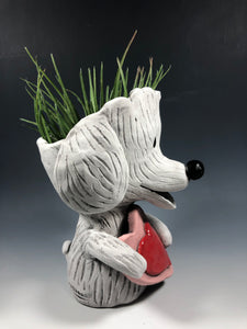 White Fluffy Dog with Heart Succulent Planter // Adorable Dog Ceramic Planter