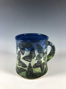 Butterfly Mug in Green and Blue