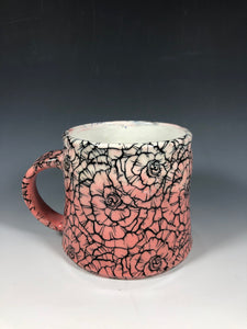 Rose Design Pink and White Ombre Ceramic Mug with White Interior