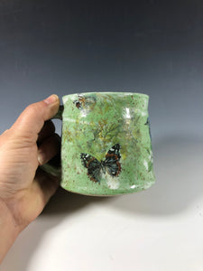 Small Green Speckled Clay with Vintage Decals and white interior