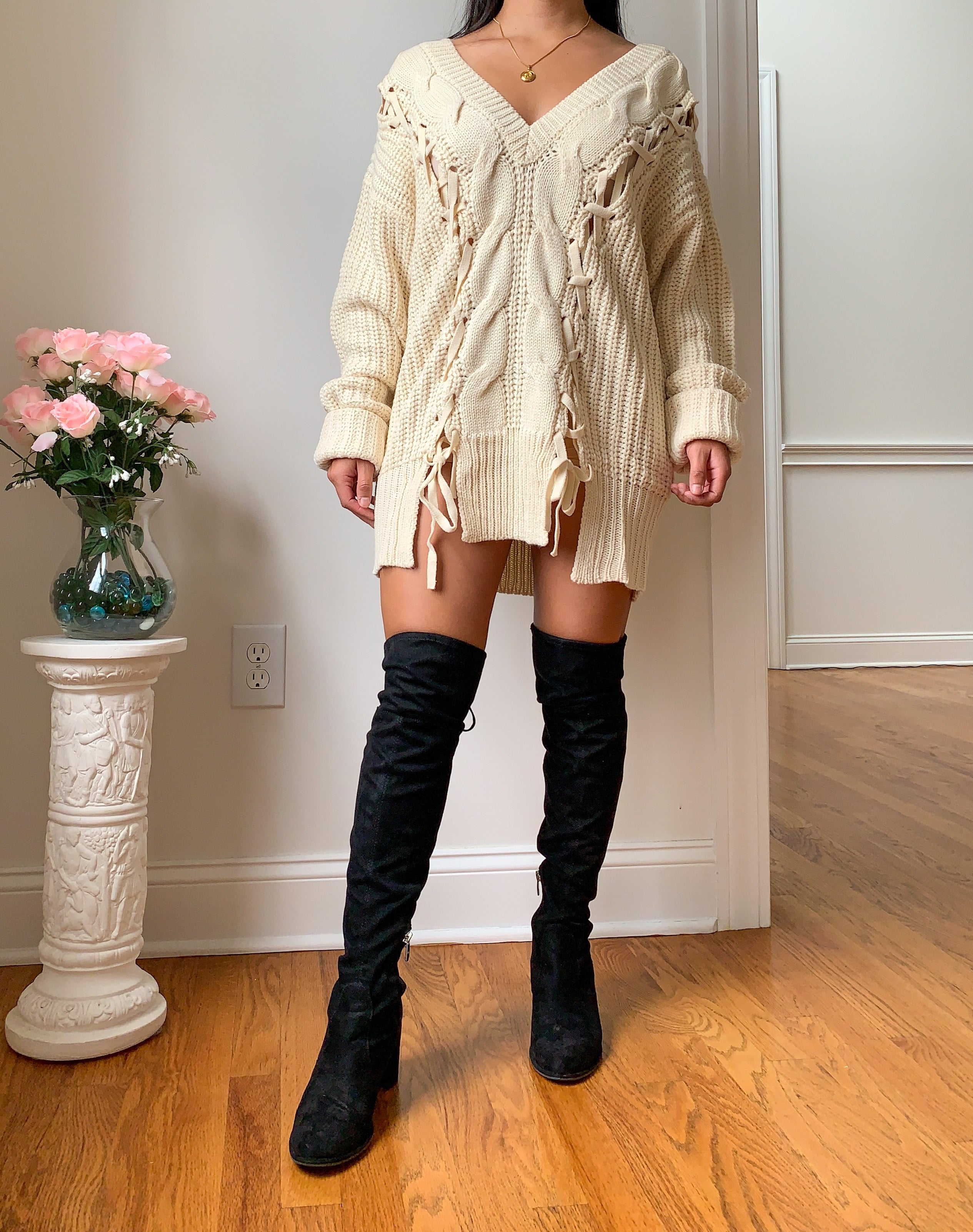 Ariana Beige Oversized Sweater