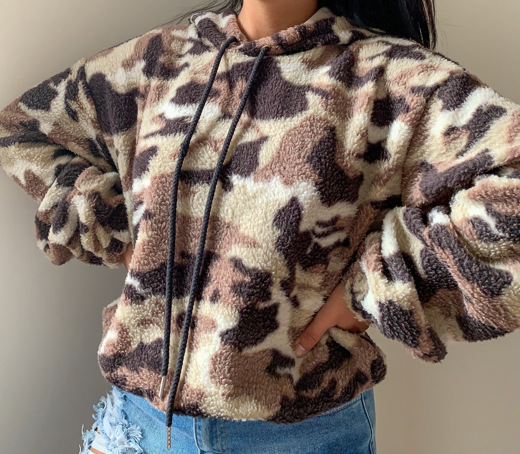 Taupe Camo Cropped Hoodie
