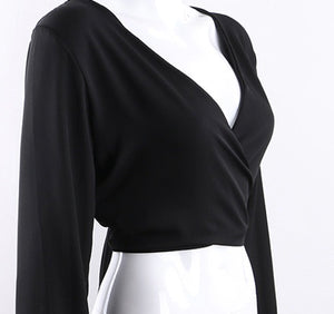 Soho - Backless V-neck Wrap Top
