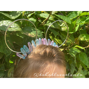 Teal and Pink Crystal Minnie ear