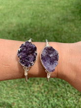 Load image into Gallery viewer, Silver Amethyst bangle bracelet