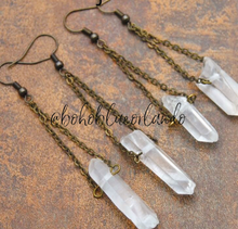 Load image into Gallery viewer, Bronzed point Clear Quartz earrings