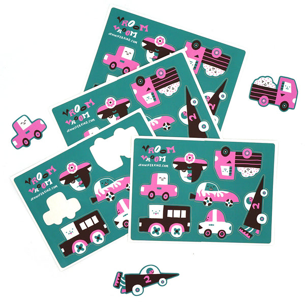 Vroom Car Sticker Sheet