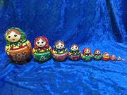 10 Piece Pot Belly Zagorsk with Green Scarf and Orange Apron
