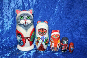 5 Piece Christmas Cats