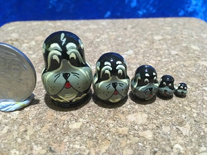 5 Piece Miniature Black Dog