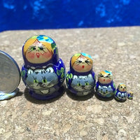 5 Piece Miniature Blue Girl with Cat
