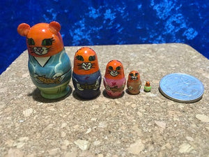 5 Piece Miniature Ginger Cat with Fish